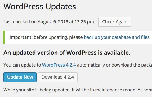 wordpres update